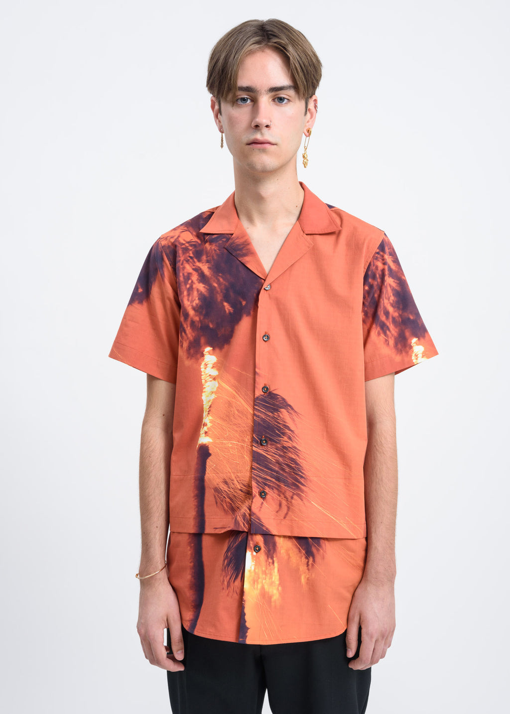 Palmier Shirt w/ Burning Print