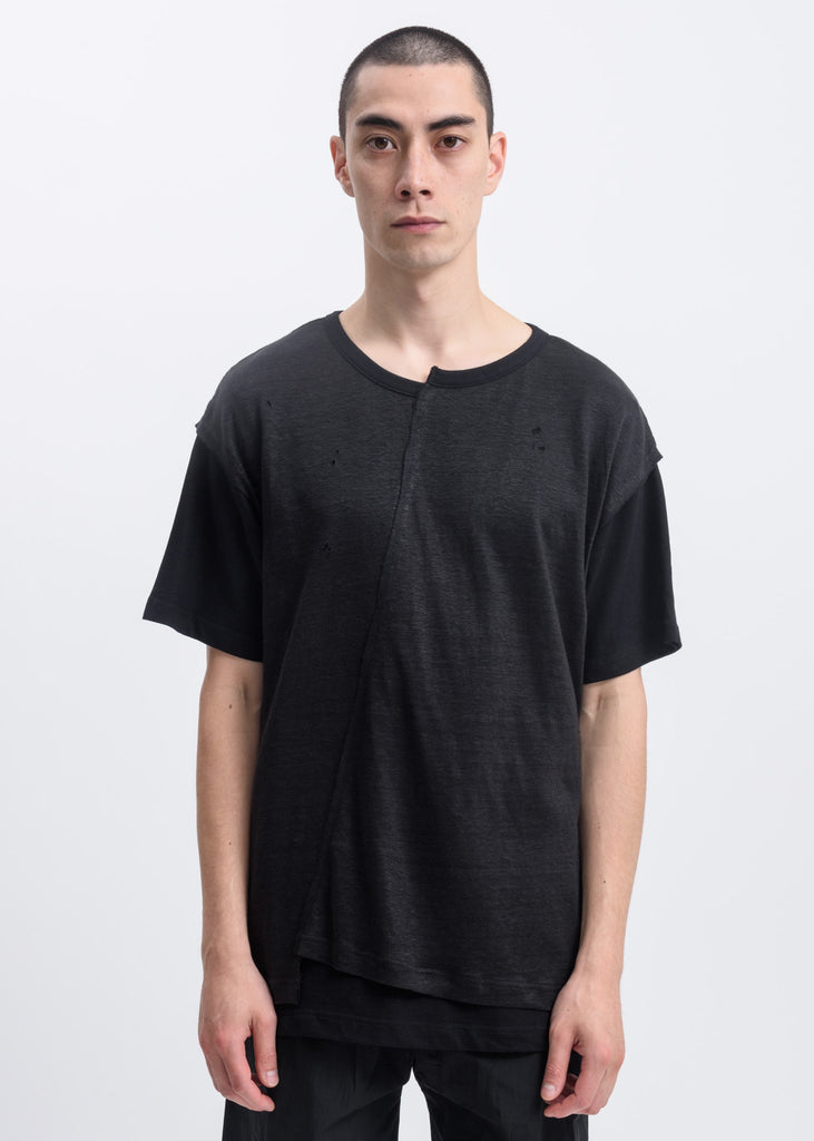 Black Split Distressed T-Shirt
