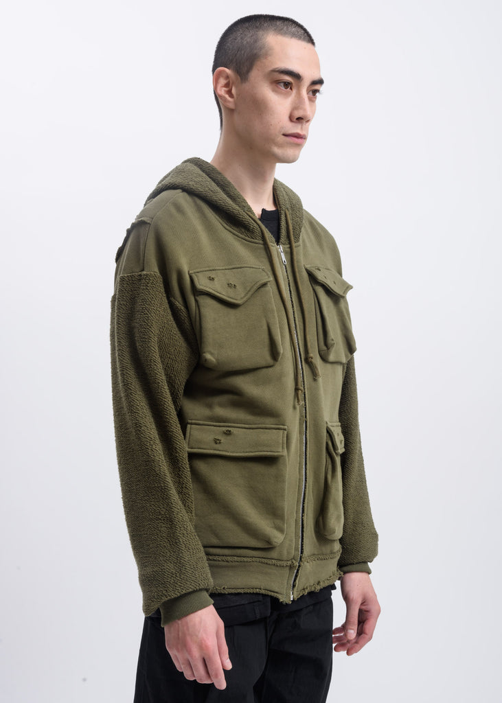 Green Distressed Pocket Hoodie