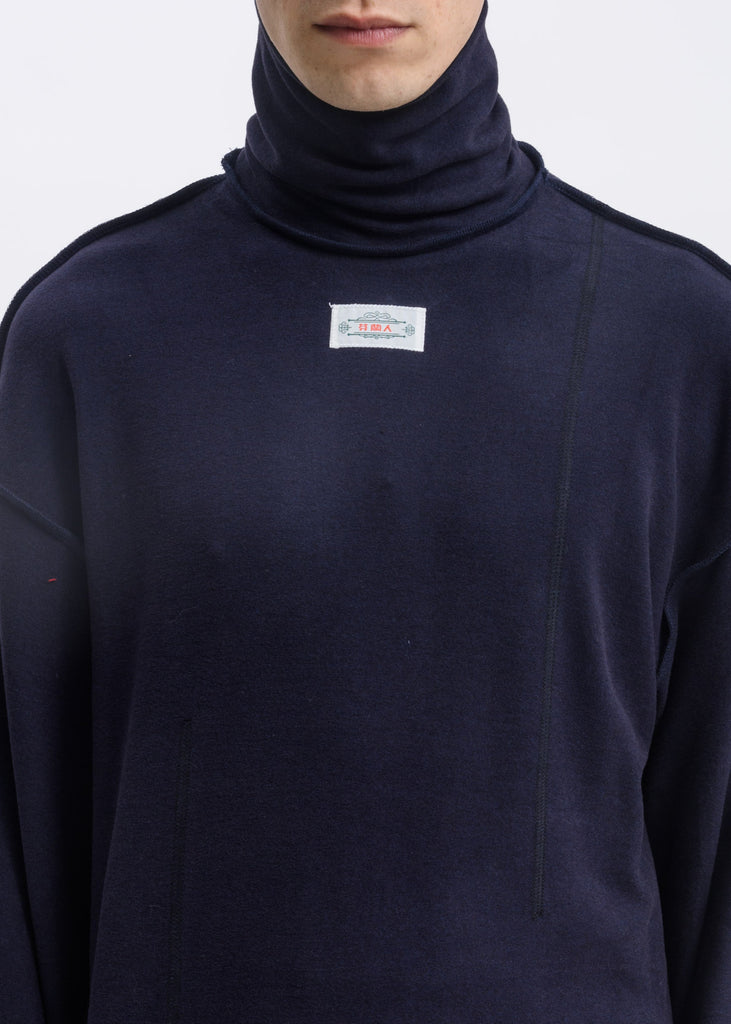Navy Logo Patch Turtle Neck