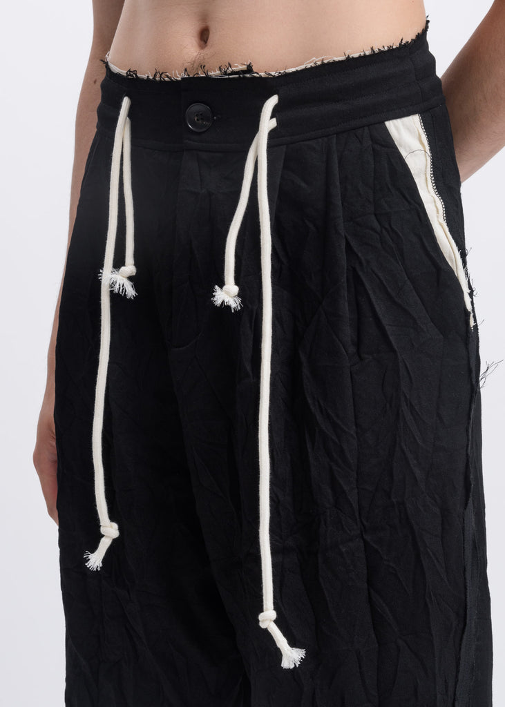 Black Wrinkled Drawstring Trousers