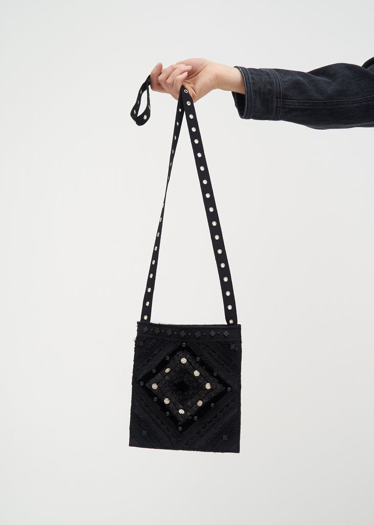 Black Beaded Cross Bag