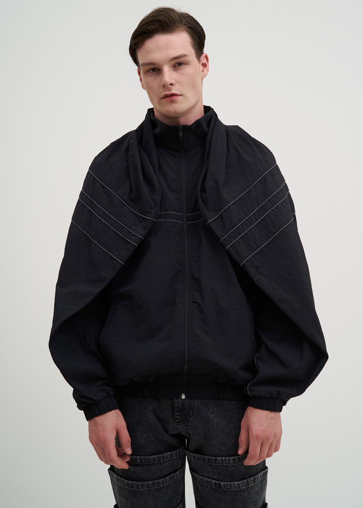 Black Clipped Shoulder Track Jacket