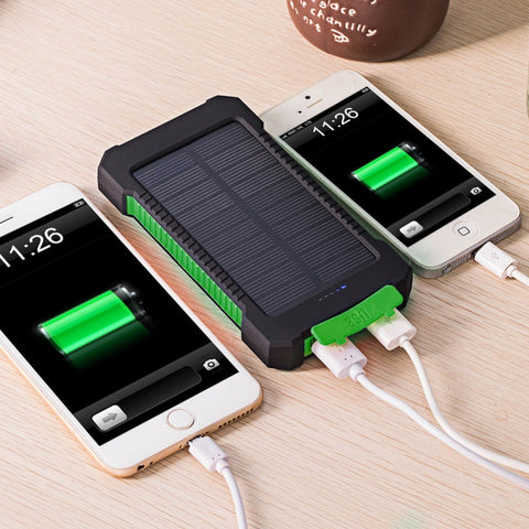 Dual-USB Full Capacity 10000mah Portable Solar Waterproof Power Bank