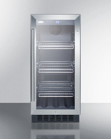 15'' Wide Built-In Undercounter Glass Door Beverage Cooler For Home Or Commercial Use, With Digital Controls, Lock, LED Light, And Stainless Steel Cabinet - SCR1536BGCSS Summit Appliance