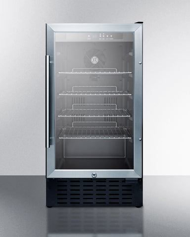 18'' Wide ADA Compliant Glass Door Refrigerator , With Digital Controls, Lock, And LED Light - SCR1841BADA Summit Appliance