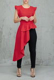 Asymmetric Hem Ruffle Sleeveless Solid Color Top - WHATWEARS