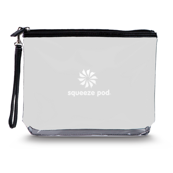 Squeeze Pod Clear Hanging Toiletry Bag Black