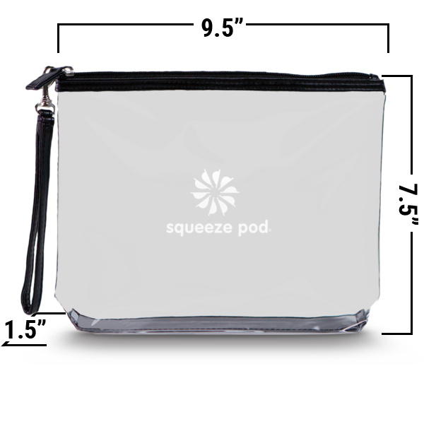 Clear Hanging Toiletry Bag<br>Black Trim