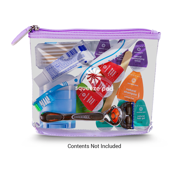 TSA Approved Purple Clear Travel Bag with Toiletries