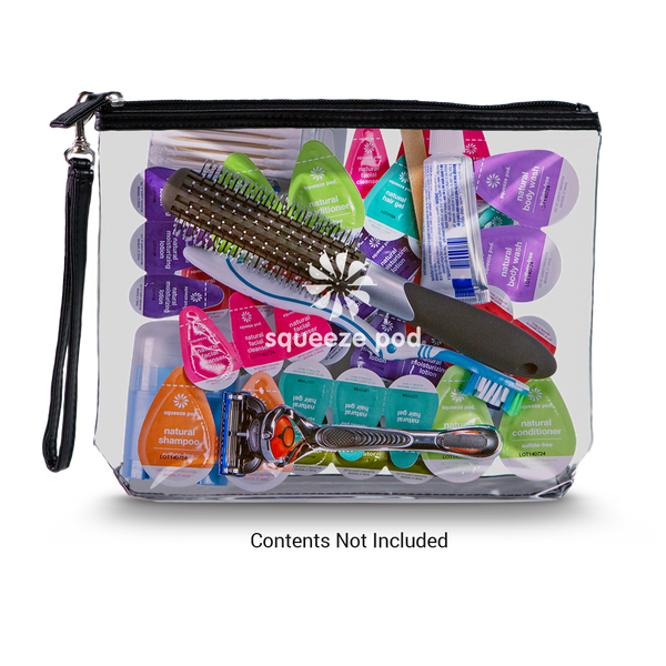 Squeeze Pod Clear Hanging Toiletry Bag Black with Toiletries