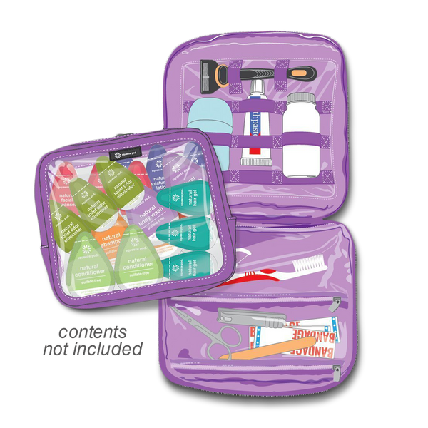 Squeeze Pod Purple Toiletry Organizer Opened