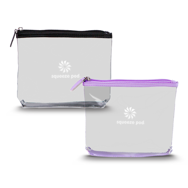 TSA Approved Black Clear Travel Bag + TSA Approved Purple Clear Travel Bag