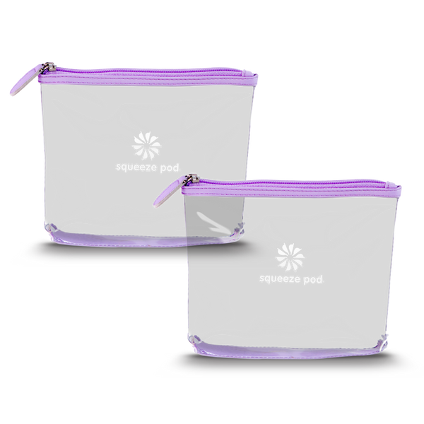 Two TSA Approved Purple Clear Travel Bags