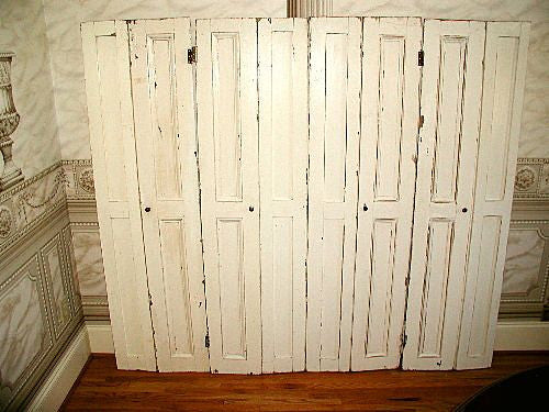 Hart Pine Doors C.1900 4 Sets Of Folding Entertainment Cabinet