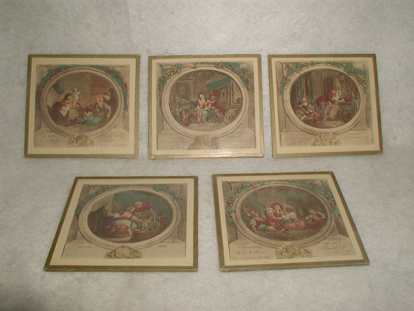 French Mini Engravings Set 5 Framed Hand Colored 19th Century