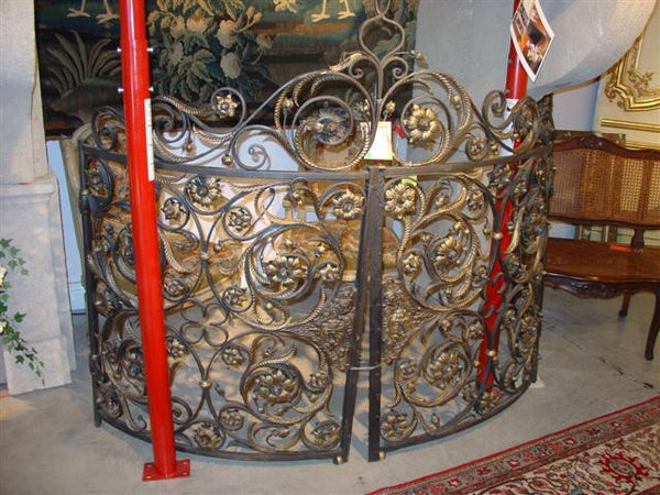 Pair of Antique Demi-Lune Iron Gates from France