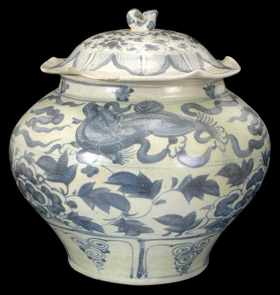 Masterpiece Chinese Yuan Blue and White Porcelain Jar , 13C