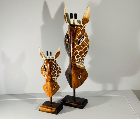 Hand Carved Giraffe Tribal Mask on stand - 40cm