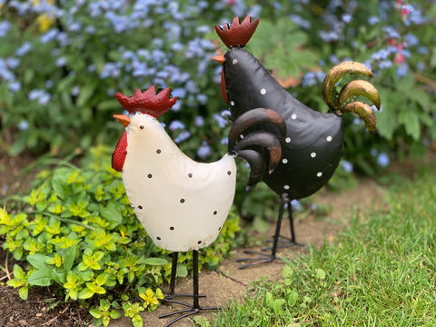 Decorative Garden Birds - Royal Hen & Cockerel