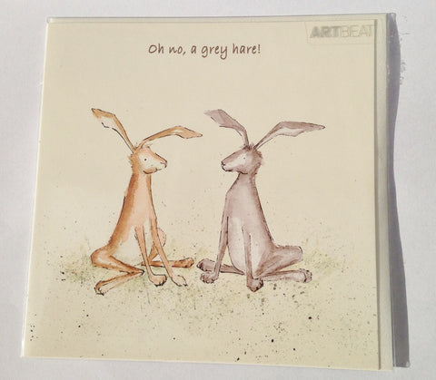 Hare Greeting Card - Oh no, a grey hare!