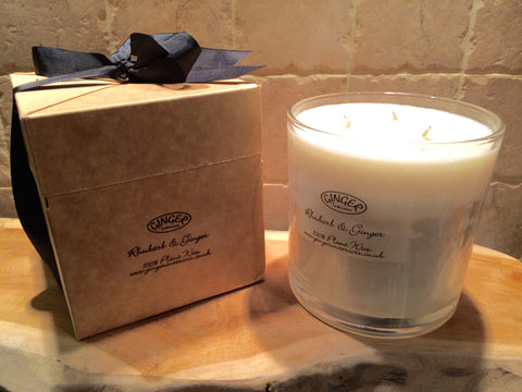 Large Scented Candle 3 Wick - Kitchen - Rhubarb and Ginger