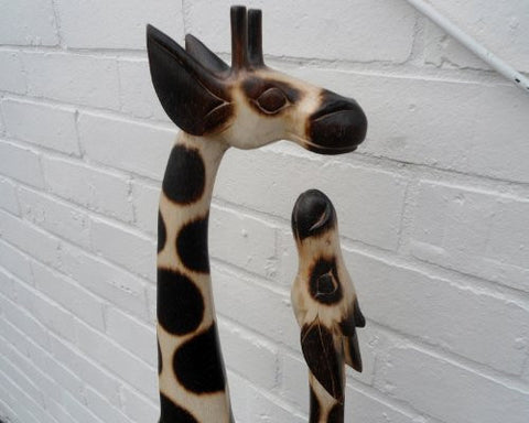 Hand Carved Mother and Baby Giraffe - 80cm