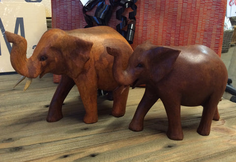 Hand Carved Brown African Elephant - Small 12cm x 18cm