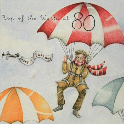 Gentleman's 80th Birthday Card - Top of the World at ... 80