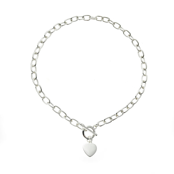 Silver T-Bar 18 Inch <BR/>Heart Charm Necklace