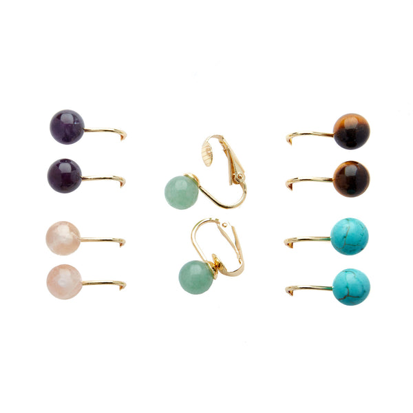 5 Pairs Semi Precious <br> Gemstone Clip on Earrings