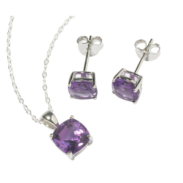Amethyst Square Necklace and Earrings Set