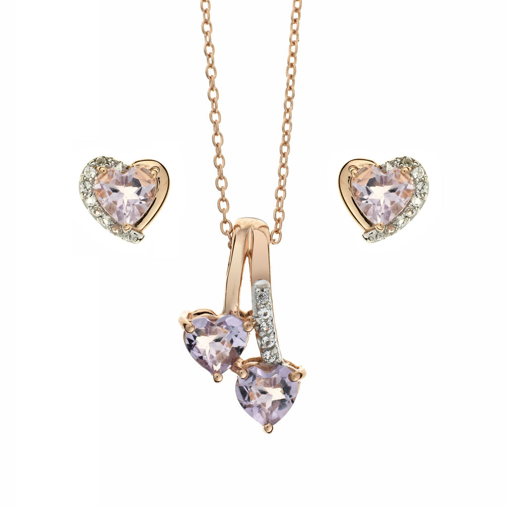Pink Amethyst<BR/> Heart Jewellery Set