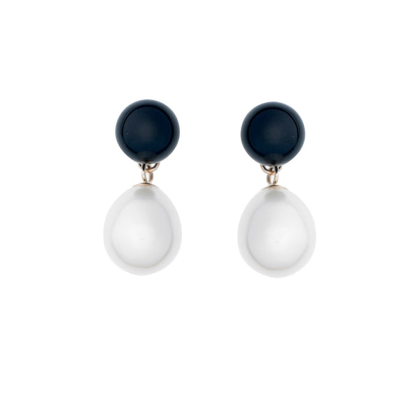 Black Onyx and <br>Pearl Earrings
