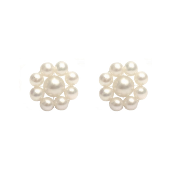 Flower Pearl <BR/>Stud Earrings
