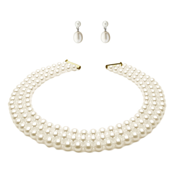 Imperial Pearl <BR/>Necklace and Drop<BR/> Pearl Earrings Set