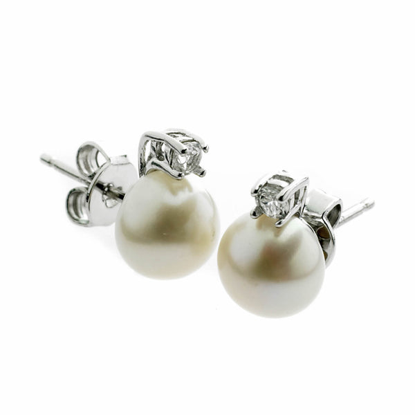 Pearl and Sapphire Stud Earrings