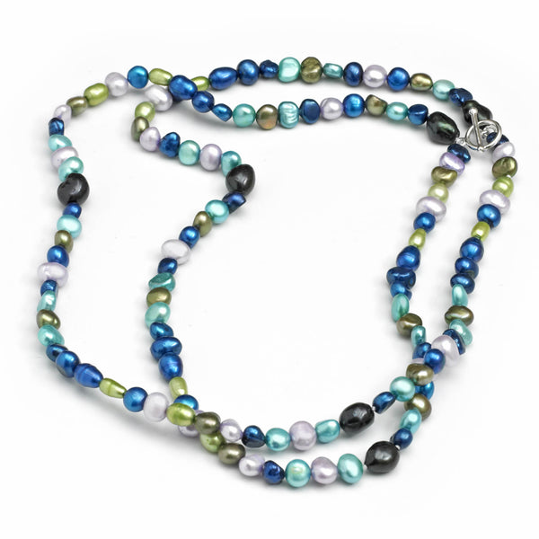 Blue Shades Two Row Freshwater Cultured Pearl Necklace