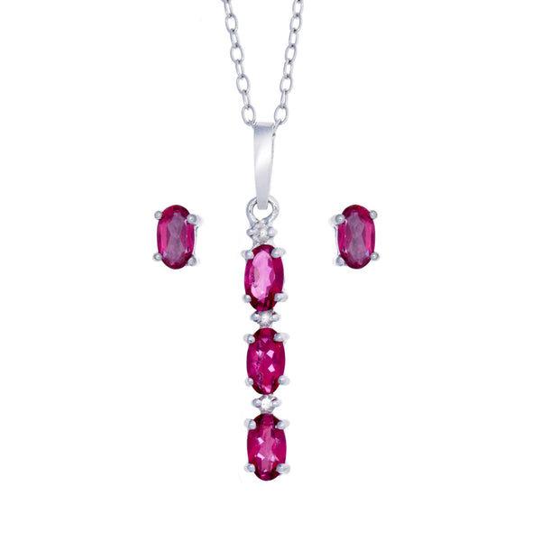 Pink Topaz and <BR/>Diamond Pendant and<BR/>Earrings Set