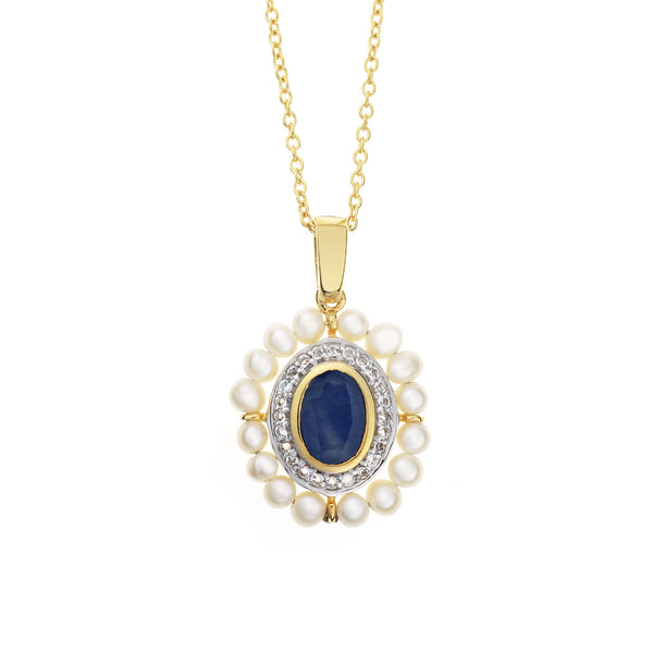 'Diana' Pearl and<BR/>Sapphire Pendant