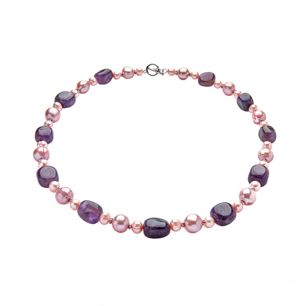 Sugarplum Pearl <BR/> and Amethyst<BR/>Necklace