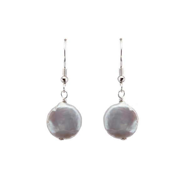 Silver Coin Pearl <BR/>Earrings