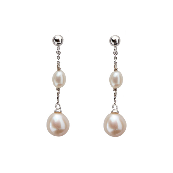 Two Pearl Drops <BR/>Earrings