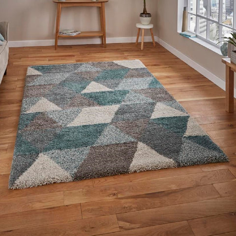 Think Rugs Royal Nomadic 7611 | Modern Grey & Teal Rugs | 120cm x 170cm