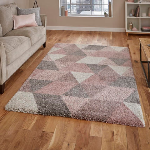 Think Rugs Royal Nomadic 7611 | Modern Rose & Cream Rugs | 160cm x 220cm