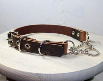 HEAVY DUTY Handmade in USA - BROWN Leather Martingale Chain Collar Adjustable & Available in 3 sizes - The Happy Dolphin Pets