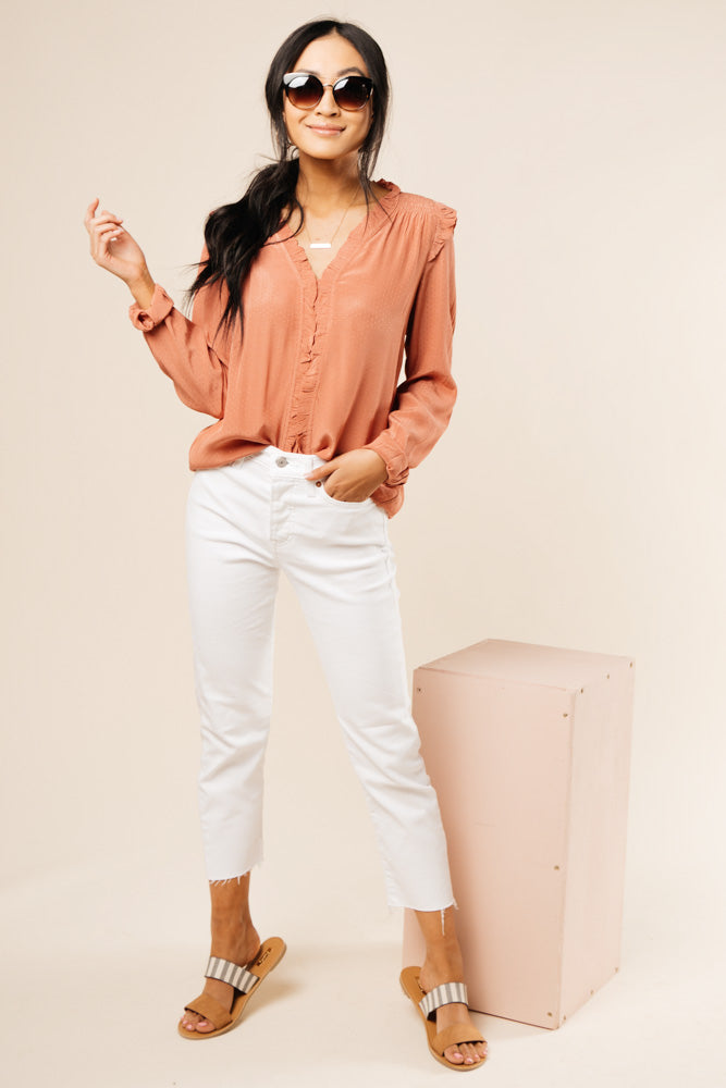 Robyn Ruffle Top in Pink with jeans bohme