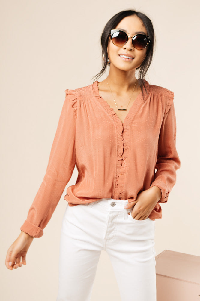 Robyn Ruffle Top in Pink bohme
