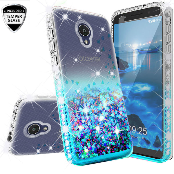 clear liquid phone case for alcatel 1x evolve - teal - www.coverlabusa.com