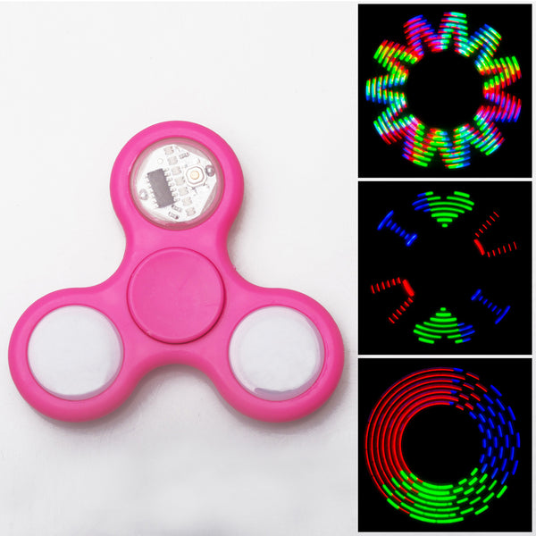 Advanced LED Light Fidget Spinner - Hand Spin Focus Toy, Stress Anxiety Relief, EDC Toy - Hot Pink
